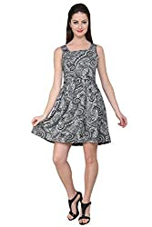 Tapyti Women's Crepe Skater Dress (TAP-LD-3091M_Black White_Medium)