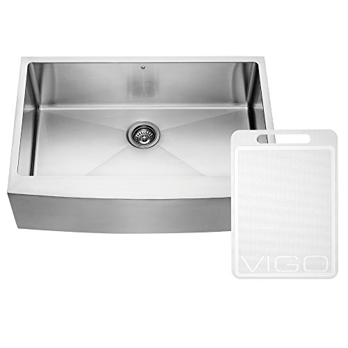 VIGO VGR3320C 33-inch Farmhouse Stainless Steel 16 Gauge Single Bowl Kitchen Sink