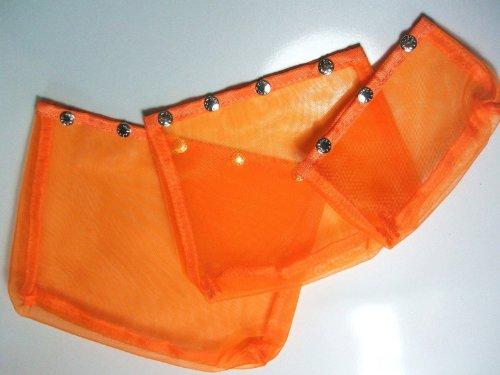 Namaste Oh Snap Set 3 Pumpkin Spice Orange Mesh Sewing Knitting Bags by Namaste