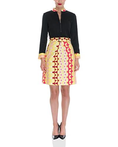 Almatrichi Vestido Corcega Negro / Amarillo