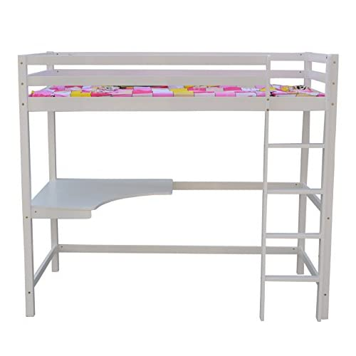 FoxHunter Childrens High Sleeper Cabin Wooden Frame Bunk Bed With Desk Kids Single 3FT White No Mattress New