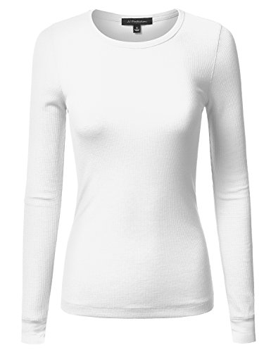 JJ Perfection Women's Knit Long Sleeve Crew Neck Thermal Top WHITE L