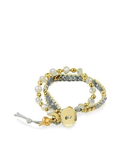 Saachi Cutesy Grey Gold-Tone Crystal Bracelet Set