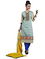 Prafful Beige Embroidered Chanderi Cotton Unstiched Salwar Suit - B00ZLJYZLU