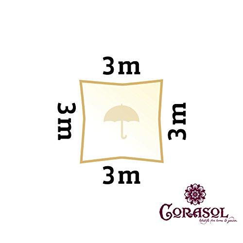 Corasol COR11SQ3-CW - Vela de sombra para patio (resistente al agua), color beige, 3 x 3 m