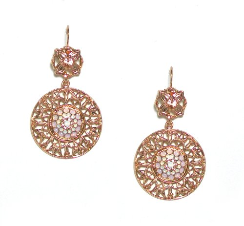 """Mariana Spirit of Design 24K Rose Gold Plated """"Tiara Day Collection"""" Filigree Medallion Swarovski Crystal Dangle Earrings in Pink Opal/Peach/White Opal"""
