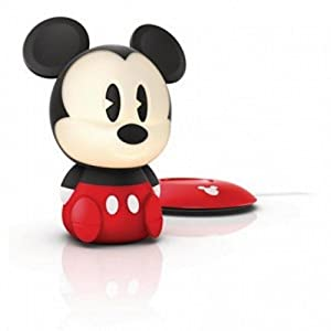 Philips Kinderzimmer Tischlampe Disney SoftPal Mickey Mouse Schwarz 1W LED Nachtlicht