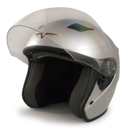 VCAN V526 Metro Open Face Helmet with Full Face Shield (Silver, Small)