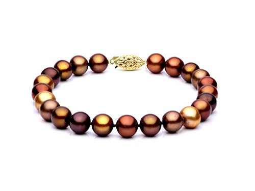 Multicolor Chocolate Fresh Water Pearl Bracelet 7-7.5mm each in 14k Yellow Gold