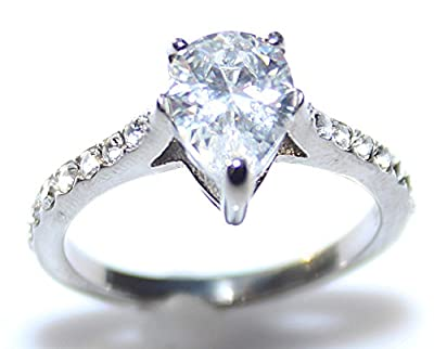 Ah! Jewellery Stainless Steel Lab Created Gorgeous Pear Cut Diamond Ring. Stamped 316. Lifetime guarantee. Never Tarnish. 4.5gr Total Weight. 4mm Total Width. Brilliant Quality.