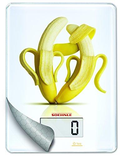 Soehnle 67088 Balance de Cuisine Plateau en Verre Banane de 1g à 5 kg