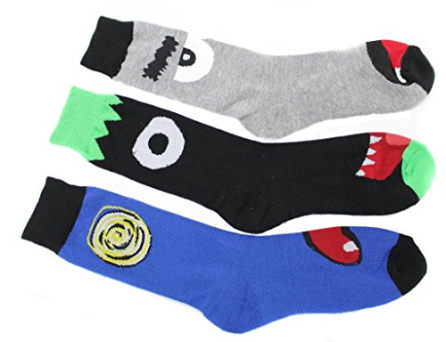 Ecko Unltd Monster Face Crew Socks 3 Pair Pack Mens Size 10-13