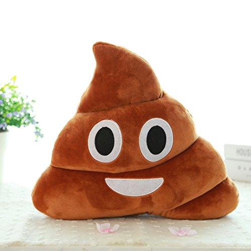 Emoji DDLBiz Mini Poo-Cuscino a forma di smile, cuscino peluche cuscino con copriletto, di alta qualità e confortevoli, marrone, Mini_2