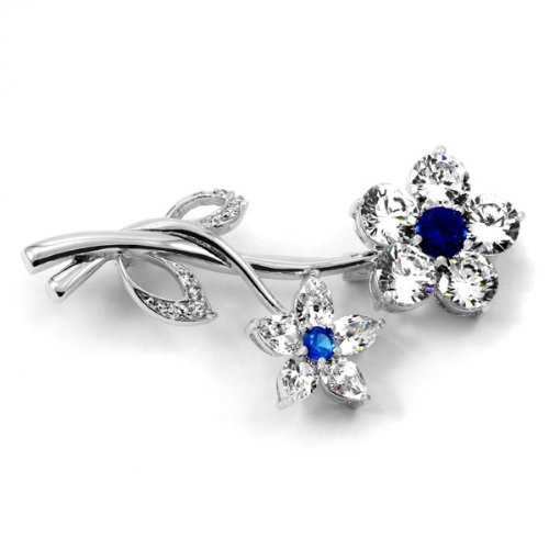 Wedding Jewelry: Roma's CZ Flower Brooch - Sapphire