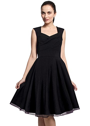[Merope J Womens A Line Sleeveless Vintage Cut Out V-Neck Dress(XXL,Black)] (Lucille Ball Costumes For Halloween)