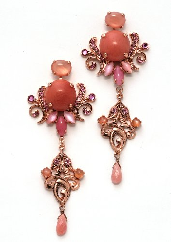 Gorgeous Earrings from 'Love and Tenderness' 2013 Collection by Israeli Amaro Jewelry Studio Set with Rose Quartz, Pink Aventurine, Pink Mussel, Swarovski Crystals and Tear Drops; 24K Rose Gold Plated