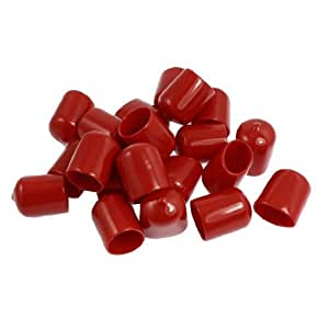 20 Pcs 30mm Height 20mm Inner Dia Round Tip Red PVC Insulated End Caps