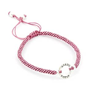 Sterling Silver Friendship Bracelet with 'Sister' Hoop and silk adjustable strap - Salmon Pink