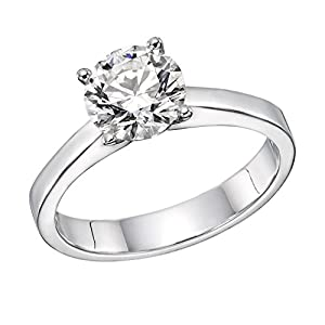 GIA Certified 14k white-gold Round Cut Diamond Engagement Ring (1.13 cttw, F Color, VS1 Clarity)