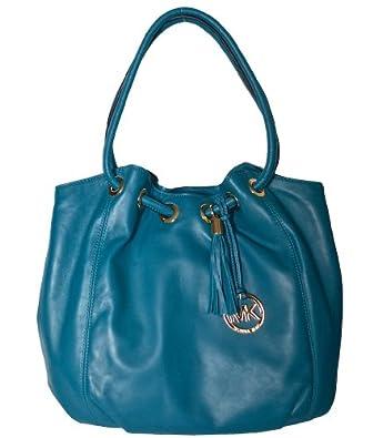 michael kors turquoise leather lg ring tote shoulder bag