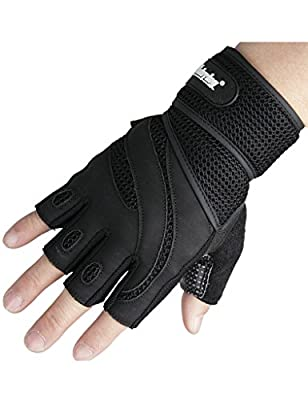 Weight Lifting Gloves - A Pair of Anti-skid Breathable Soft Lycra Half Finger Extend Velcro (45CM) Gym Fitness Training Sports Gloves by showtimetech Inc.
