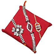 Handicrunch Rakhi Set Of 3 Awesome Pair Of Diamond Rakhi Set With Bikaji Rasg...