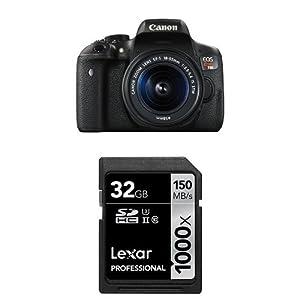 Canon EOS Rebel T6i Digital SLR with EF-S 18-55mm STM Lens + 32 GB Memory Card