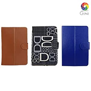 Gini 7 inches Flip cover forReliance CDMA Tab Tablet Combo of Blue, DD text Black & Brown