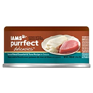 Iams Purrfect Delicacies Featured Flaked Ocean Fish and Tuna Recipe Cat Food, 2.47-Ounce
