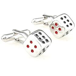 Ss Dice Fun Silver & Red & Black Copper Cufflinks For Men SS70