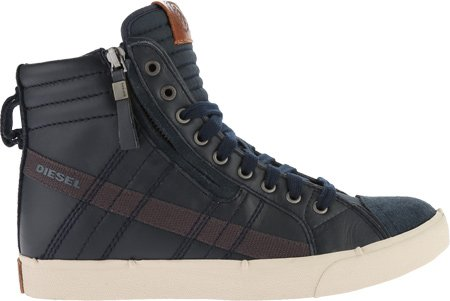 Diesel Men's D-Velows D-String In Leather Fashion Sneaker, India Ink, 12 M US