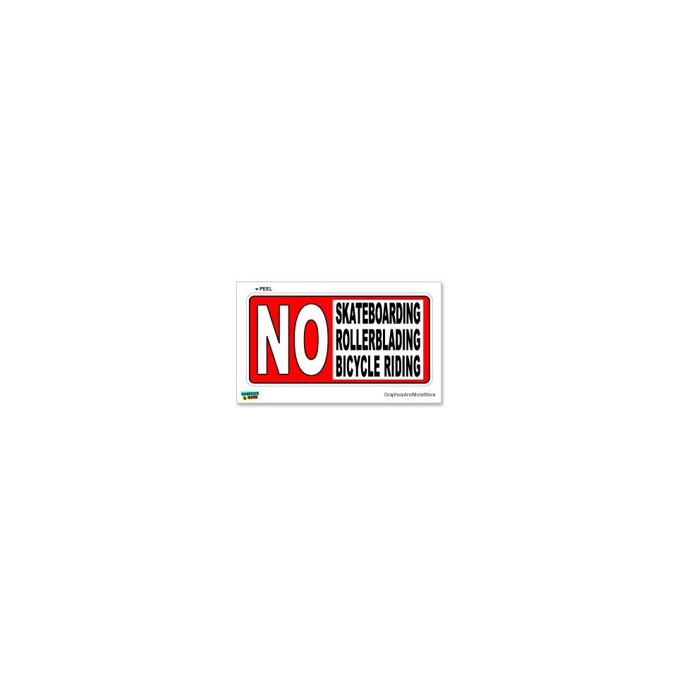 No Skateboarding Bicycle Riding   Business Sign   Window Wall Sticker