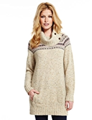 Indigo Collection Fair Isle Flecked Knitted Tunic with Wool