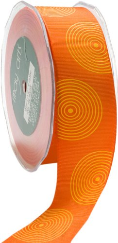 May Arts 1-1/2-Inch Wide Ribbon, Orange Grosgrain with Yellow Circles