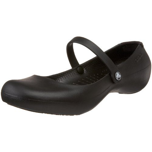 Crocs Womens Alice Mary Jane Flat,Black,7 M US