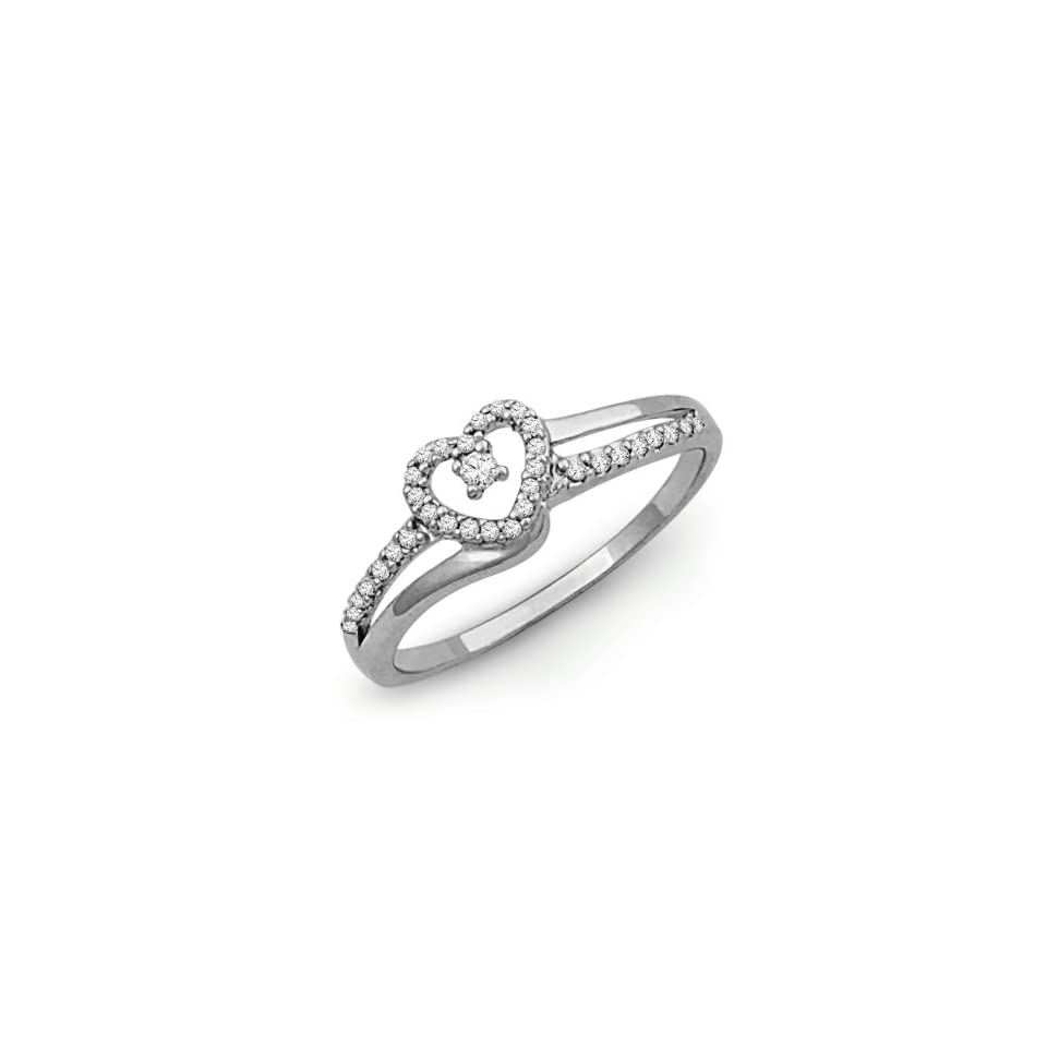 Sterling Silver Round Diamond Heart Ring (1/6 cttw)