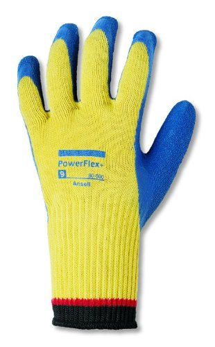 Ansell Powerflex Plus 80-600 Kevlar Glove, Blue Latex Coating, Small, Size 7 (Pack Of 12 Pairs)