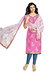 Kvsfab Pink & Blue Pure Cotton printed un-stitched dress material