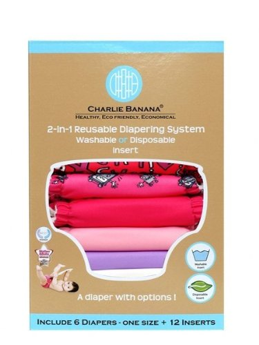 Charlie Banana 889473 Small Matthew Langille Girl Diaper (Set Of 6) - 12 Inserts front-1042299
