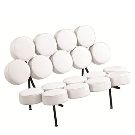 Fine Mod Imports Circle Sofa in White Leather