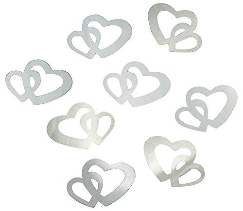 100-Stk-Deko-Doppel-Herzen-silber-Streuteile-Scrapbooking-Tischdeko-Streudeko-Hochzeit