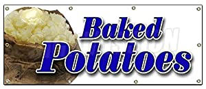 """36""""x96"""" BAKED POTATOES BANNER SIGN signs stand concession Idaho stuffed hot"""