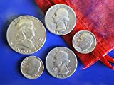 1oz Silver Coin Lot 90% Silver Half Dollar, Quarter & 5 Dimes. All Nice Looking Coins with Good detail, No Junk Coins.