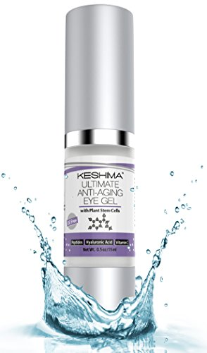 KESHIMA discount duty free Best Eye Cream for Dark Circles, Puffiness, Sagging Skin, Wrinkles and Crow's Feet - Anti-Aging Gel w/ Plant Stem Cells, Vitamin C, Hyaluronic Acid, Complex Peptides, Aloe and Green Tea - Oil Free