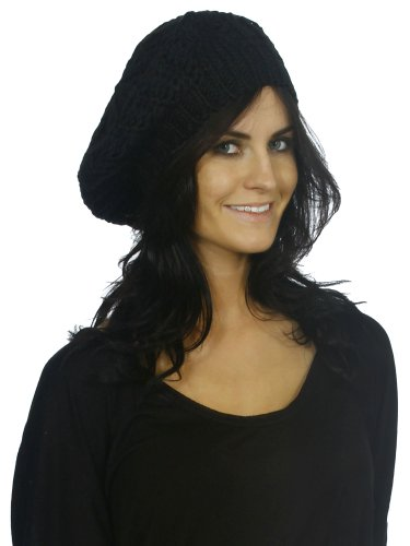 Simplicity Women Fashion Crochet Winter Hat Knit Beanie Cap, Black2