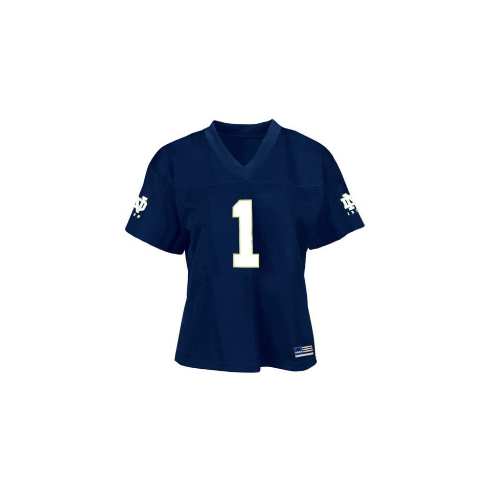 Adidas Notre Dame Fighting Irish #1 Navy Ladies Replica Football Jersey