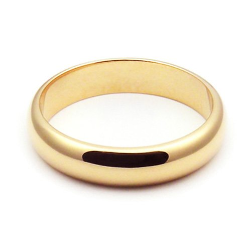 10K Yellow Gold Men's & Women's Wedding Bands 4mm light half round, 10.25