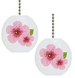 Set of 2 Cherry Blossoms Floral Solid CERAMIC Fan Pulls