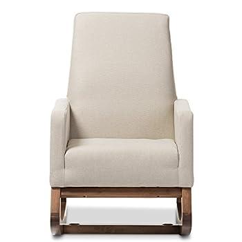 Baxton Studio Yashiya Mid Century Retro Modern Fabric Upholstered Rocking Chair, Light Beige