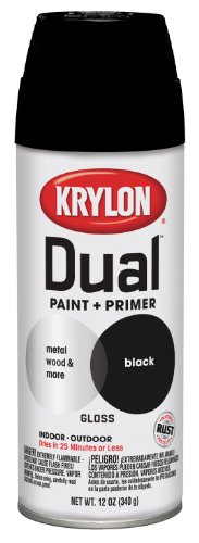 Krylon 8801 'Dual'  Paint and Primer 12-Ounce  Aerosol, Gloss Black
